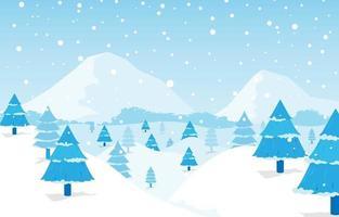 paysage de paysage hivernal au pays des merveilles vecteur