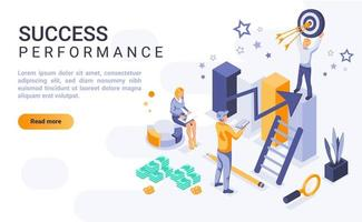 page de destination isométrique des performances de succès vecteur