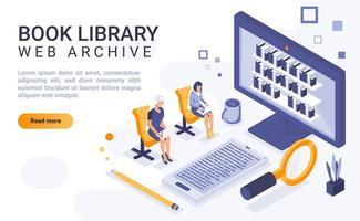 page de destination isométrique de la bibliothèque de livres