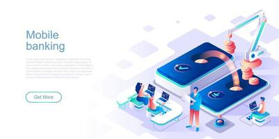 modèle de page de destination de banque mobile vecteur