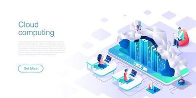 modèle de page de destination pour le cloud computing vecteur