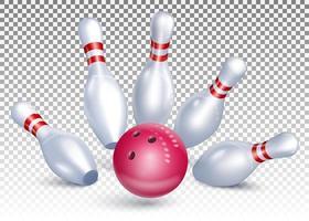 boule de bowling frappe les broches vecteur