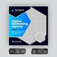 modèle de publication de médias sociaux d'entreprise en bleu et noir