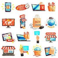 jeu d'icônes de magasinage et de commerce électronique en ligne