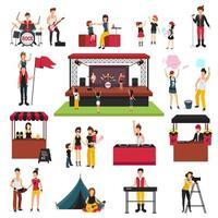 jeu d'icônes de festival en plein air vecteur