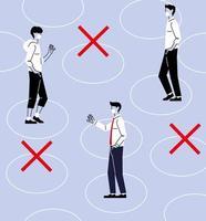 distanciation sociale entre hommes masqués