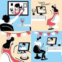 personnes dans le chat vidéo célébrant vecteur