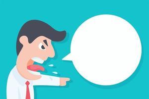 patron en colère de dessin animé avec bulle de dialogue vide vecteur