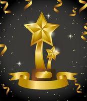 conception de célébration de prix avec trophée étoiles vecteur