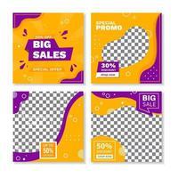 bannières de forme géométrique carrée jaune violet vecteur