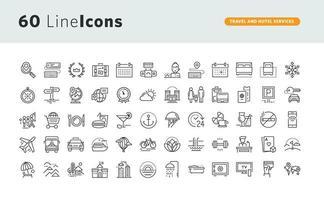 ensemble d'icônes de ligne pour les services de voyage et d'hôtel vecteur