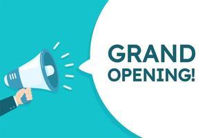 mégaphone criant '' grande ouverture '' annonce vecteur