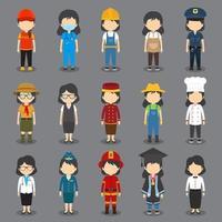 ensemble de 15 avatars féminins de profession plate vecteur