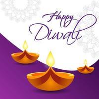 fond d'écran joyeux diwali avec des lumières vecteur