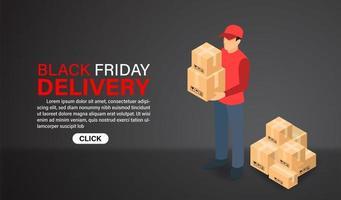 vendredi noir shopping conception de livraison express en ligne vecteur