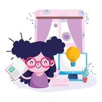 éducation en ligne, fille avec livre et ordinateur dans la chambre vecteur