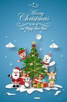 carte de Noël avec le père Noël et ses amis