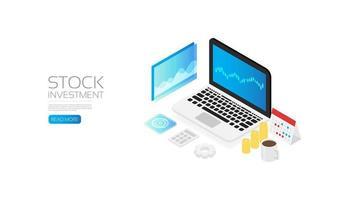 page d'investissement en actions isométrique vecteur