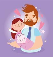 père avec fille et bébé