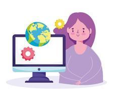 fille étudiante avec ordinateur vecteur