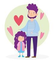 père et fille avec des coeurs