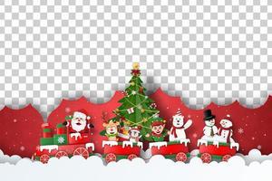 modèle de bannière de Noël avec le père Noël et ses amis