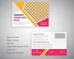 conception de carte postale professionnelle en rose et jaune