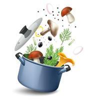 composition de recette de soupe aux champignons vecteur