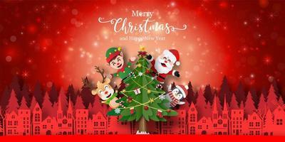 bannière de Noël avec des personnages de vacances
