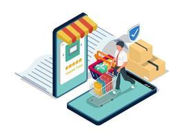homme faisant du shopping sur le marché du commerce électronique vecteur