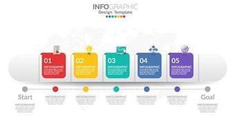 modèle infographique de chronologie avec 5 éléments