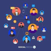 affiche de la journée des médias sociaux avec des personnes connectées vecteur