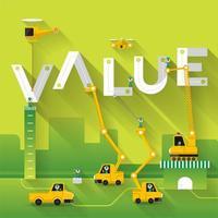 chantier de construction avec concept de valeur de grue vecteur