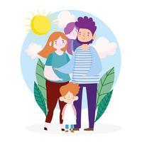 mère, père et enfants à l'extérieur vecteur