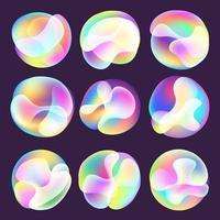 ensemble de sphères dégradé brillant fluide holographique vecteur