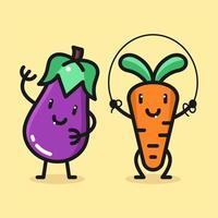 Jeu de caractères de dessin animé mignon carotte et aubergine vecteur