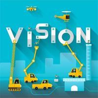 concept de texte de vision avec des véhicules de construction vecteur