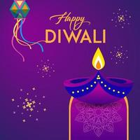 carte de voeux diwali avec biscuits diwali vecteur