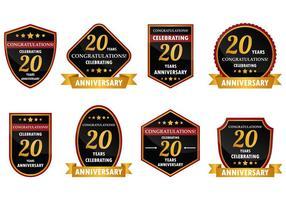 20 Année Badge anniversaire Vecteur