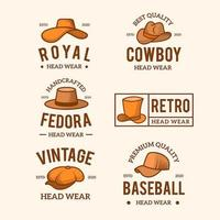 collection de chapeaux à logo de mode vintage vecteur