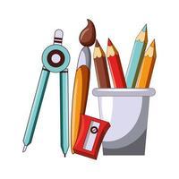 retour à la caricature d & # 39; éducation scolaire avec des crayons