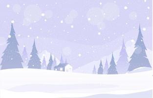 la neige tombe au pays des merveilles de l'hiver vecteur