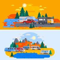 caricature de camping-cars et camping-cars à l'extérieur