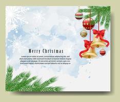 carte de voeux joyeux noël avec des branches et des cloches