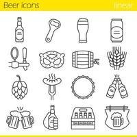 jeu d & # 39; icônes linéaires de bière vecteur