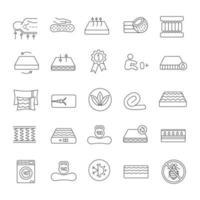 ensemble d & # 39; icônes linéaires de matelas vecteur