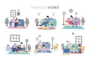 ensemble d'isolement et de distanciation sociale, restez à la maison