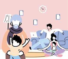 les membres de la famille restent à la maison après la pandémie de coronavirus vecteur