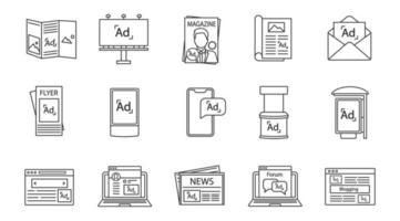 ensemble d & # 39; icônes linéaires de canaux publicitaires vecteur