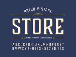 police de caractères vintage rétro décorative vecteur
